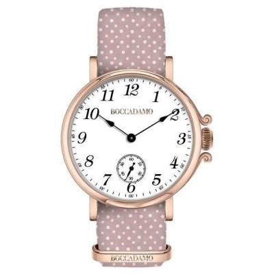 Orologio da donna con quadrante bianco, cassa rosata e cinturino di nylon