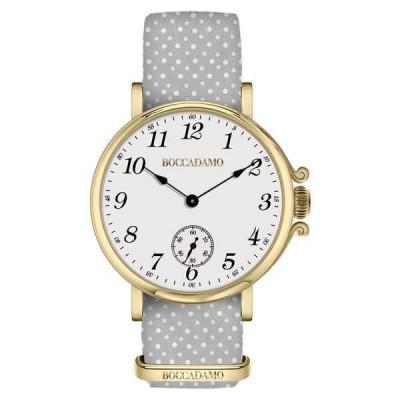 Orologio da donna con quadrante bianco, cassa dorata e cinturino di nylon
