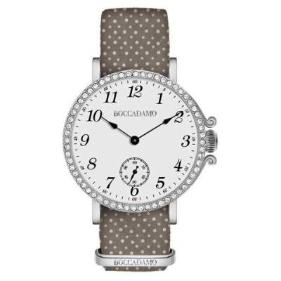 Orologio da donna con quadrante bianco, cassa silver in Swarovski e cinturino di nylon marrone