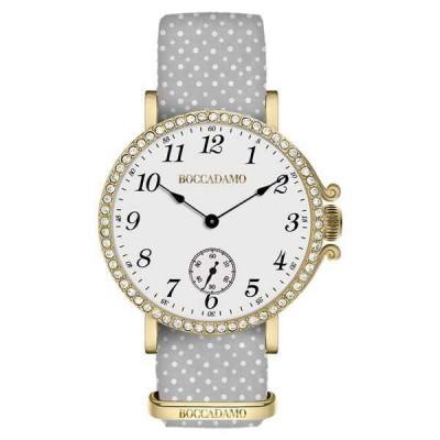 Orologio da donna con quadrante bianco, cassa dorata in Swarovski e cinturino di nylon