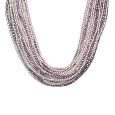 Collana con 21 fili degradè di perle Swarovski mauve, rosaline e white