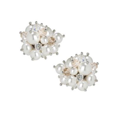 Orecchini a lobo con bouquet di cristalli e perle Swarovski white
