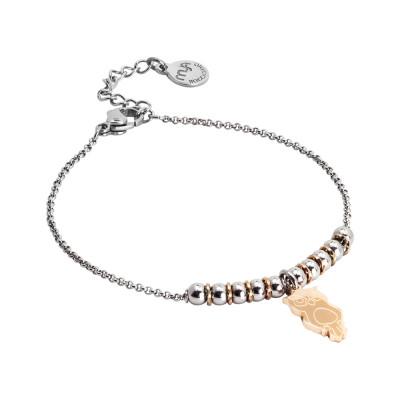Bracciale morbido con beads centrali e gufetto pendente