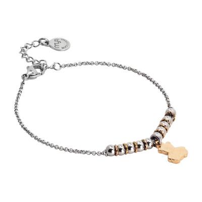 Bracciale morbido con beads centrali e orsetto pendente