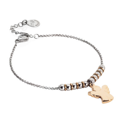 Bracciale morbido con beads centrali e angioletto pendente