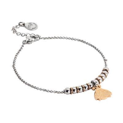 Bracciale morbido con beads centrali e tartaruga pendente