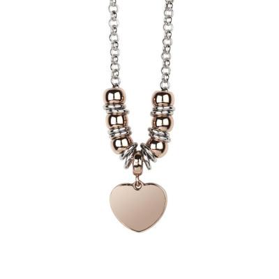 Collana bicolor con cuore pendente placcato oro rosa