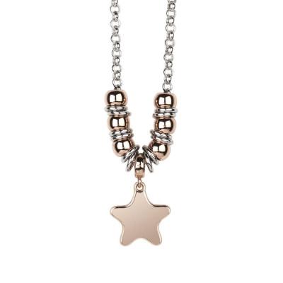 Collana bicolor con stella pendente placcata oro rosa
