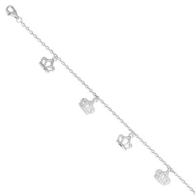 Bracciale in argento con corona di zirconi e charms