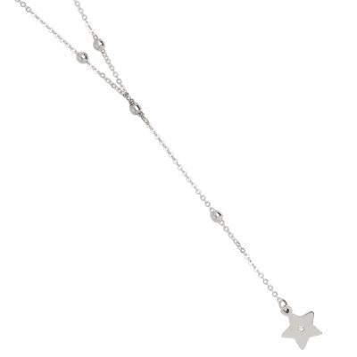 Collana a Y con stella pendente e strass