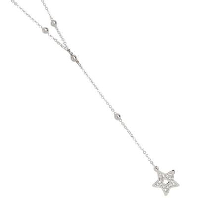 Collana a Y con stella pendente e pavè di strass