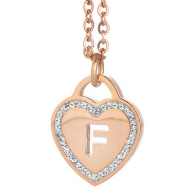 Collana con cuore e lettera F traforata