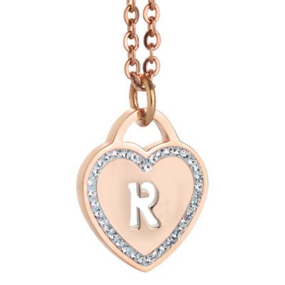 Collana con cuore e lettera R traforata