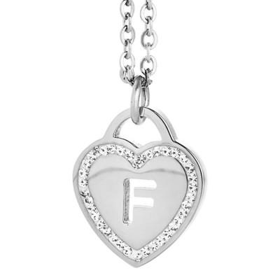 Collana rodiata con cuore e lettera F traforata