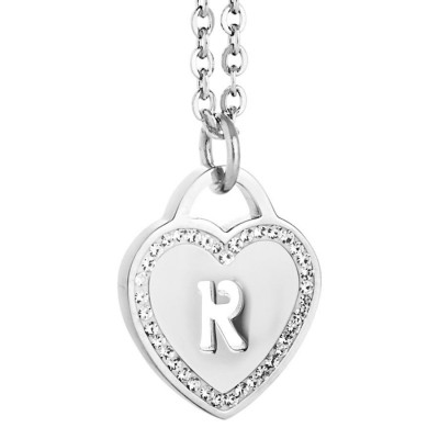 Collana rodiata con cuore e lettera R traforata
