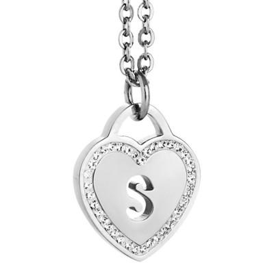 Collana rodiata con cuore e lettera S traforata