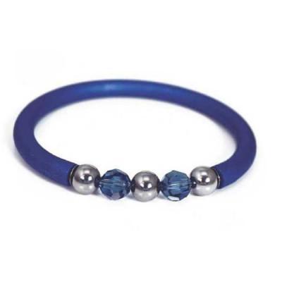 Bracciale in gomma blu cobalto con Swarovski e boules in acciaio