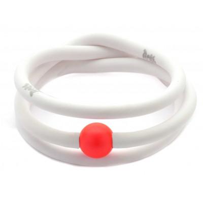 Bracciale fluo in gomma e perla Swarovski rossa