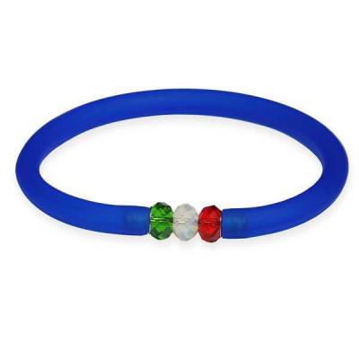 Bracciale in gomma blu zaffiro con chiusura Swarovski tricolore