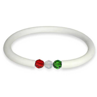Bracciale in gomma bianco con chiusura tricolore Swaroski grande