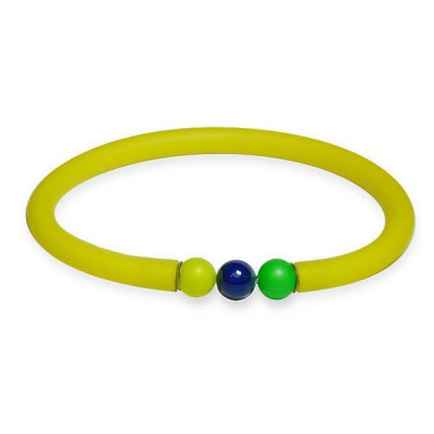 Bracciale in gomma giallo con chiusura in boules Swarovski multicolor