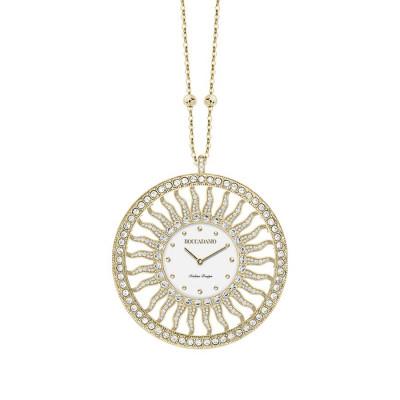 Collana-orologio in bronzo placcato oro giallo con Swarovski