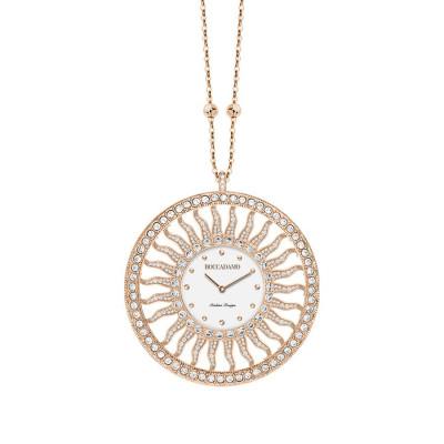 Collana-orologio in bronzo placcato oro rosa con Swarovski