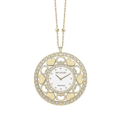 Collana-orologio in bronzo placcato oro giallo con cuori in Swarovski