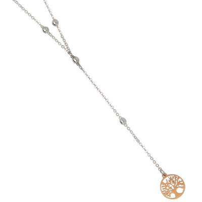 Collana bicolor a Y con albero della vita e strass