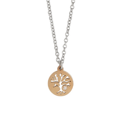 Collana bicolor con albero della vita e strass