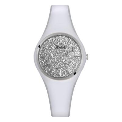 Orologio donna in silicone anallergico bianco con quadrante in glitter argentato