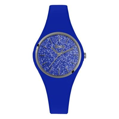 Orologio donna in silicone anallergico blu elettrico con quadrante in glitter argentato