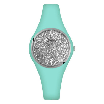 Orologio donna in silicone anallergico celeste con quadrante in glitter argentato