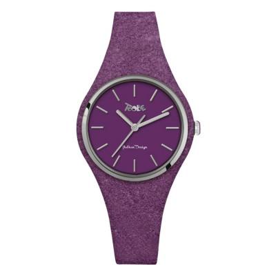 Orologio donna in silicone viola glitterato e quadrante viola