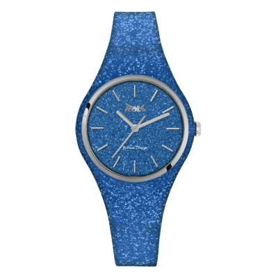 Orologio donna in silicone e quadrante blu denim glitterato