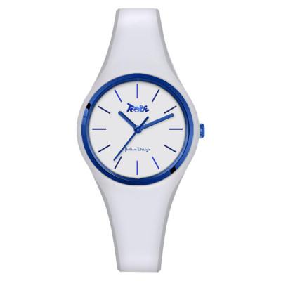 Orologio in silicone anallergico bianco con ghiera blu