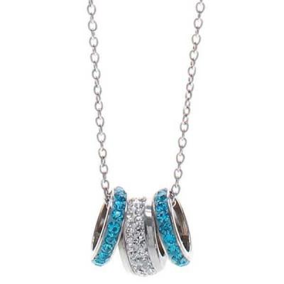 Collana in acciaio con passanti in pavè di strass bianchi e azzurri