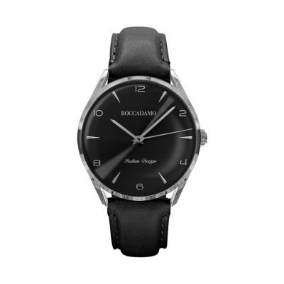 Orologio vintage con cinturino in pelle e quadrante nero