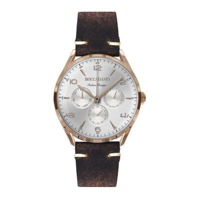 Orologio vintage con cinturino in pelle marrone effetto invecchiato