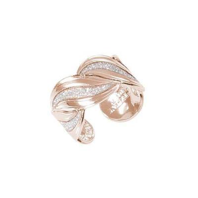 Anello rosato a fascia con superfici glitterate a forma di nodo d'amore