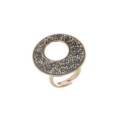 Anello regolabile rosato con superficie in Swarovski crystal rock
