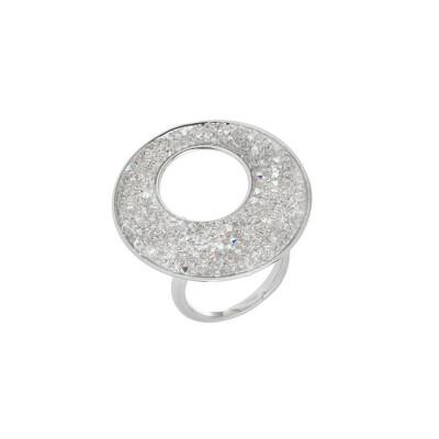 Anello regolabile con superficie in Swarovski crystal rock