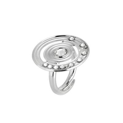 Anello con base circolare concentrica e Swarovski