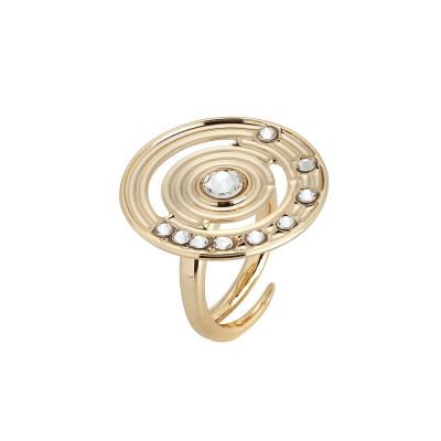 Anello placcato oro giallo con base circolare concentrica e Swarovski