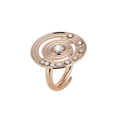 Anello placcato oro rosa con base circolare concentrica e Swarovski