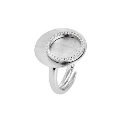 Anello graffiato con base piatta e cerchio di zirconi