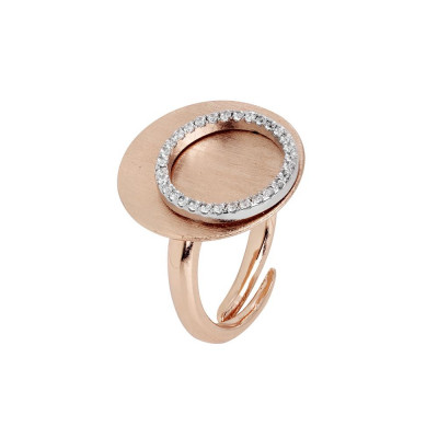 Anello placcato oro rosa con base piatta e cerchio di zirconi