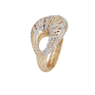 Anello placcato oro giallo in elettrofusione con decoro in glitter silver