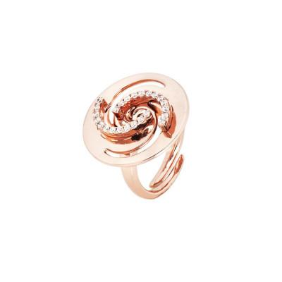 Anello placcato oro rosa con decoro a vortice e zirconi