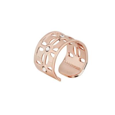 Anello placcato oro rosa a fascia con Swarovski crystal